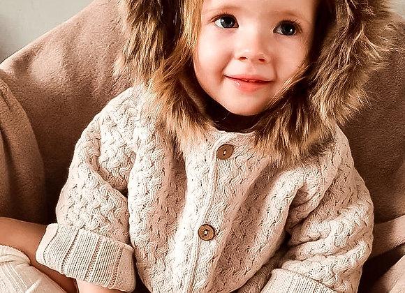 Luxe Mac Ilusion Exclusive Fur Trim Woven Jacket Coat