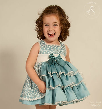 Teal Puffball Dress