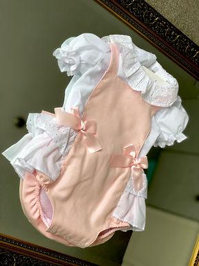 Blush Pink Dungaree Dress Set