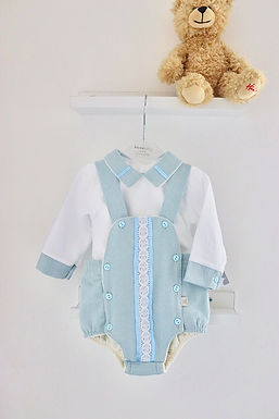 Sky Blue Cross Back Romper Two Piece