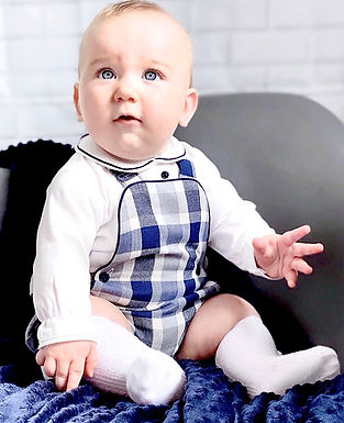 Blue Checked Romper Set by Baby Ferr