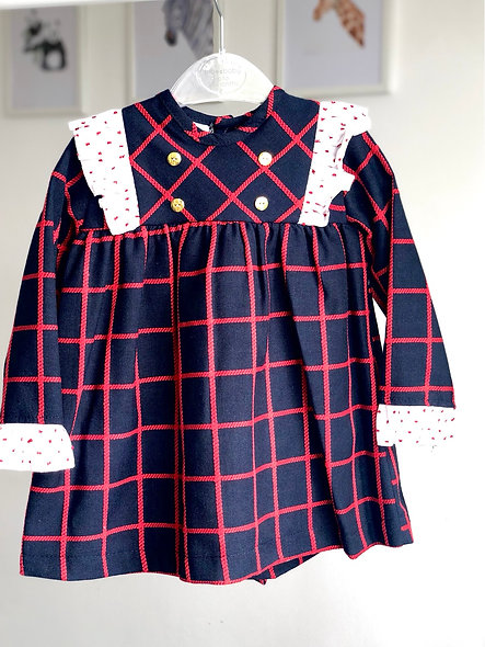 Navy & Red Square Checked Dress, Baby Ferr
