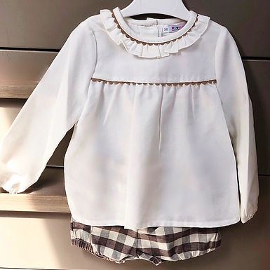 Gingham Shorts Set with Trimmed Frill Blouse