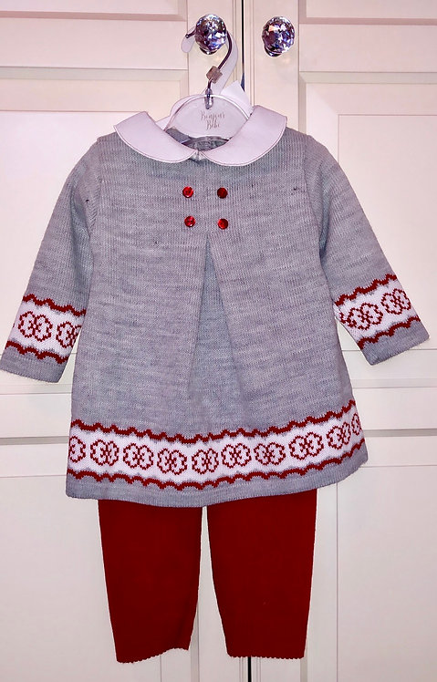 Two piece knit set with button detail