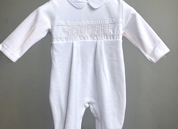Velour Embroidered Detail CUTE Sleep Suit by Just Too Cute