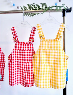 Gingham Button Shorts Dungaree