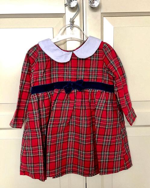 Tartan Dress with Velvet Trim