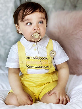 Sunshine Yellow Smocked T Bar Short Romper Set