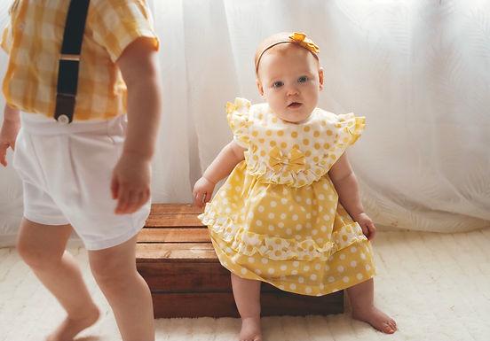 Yellow Polkadot Dress- Babyferr