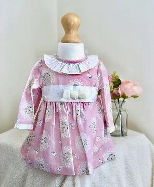 Pink Velvet Trim Floral Scroll Dress
