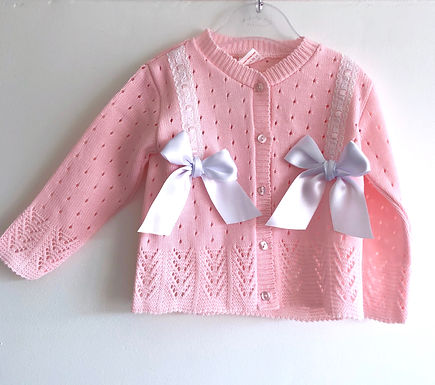 Baby pink cardigan with white double white satin bow
