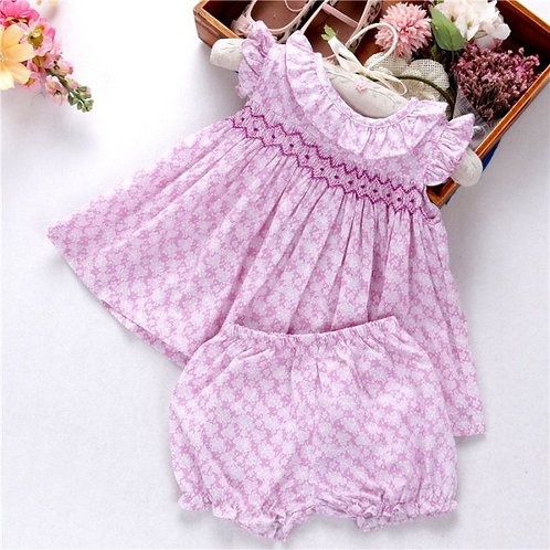 Hand Smocked Violet Dress with Bloomers
