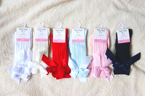 Tick Tock Cable Knit Satin Bow 3/4 Socks