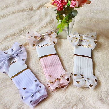 Ribbed Mesh Bow Socks with Matching Headband