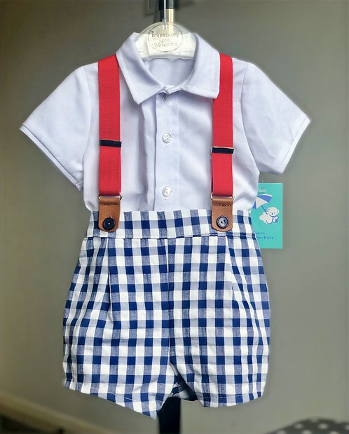 Checked Shorts & Braces Set by Baby Ferr