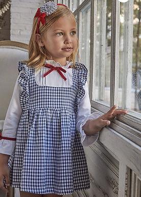 Houndstooth Pleated Bib Dress