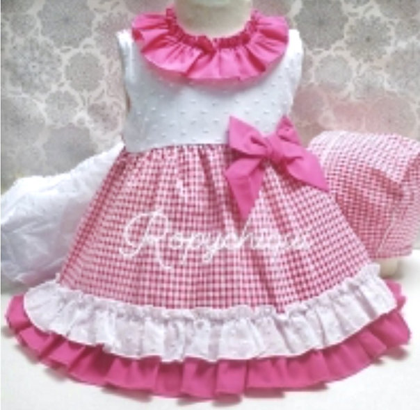 Baby Ferr - Traditional Fuchsia Pink Gingham Print 3 Piece Set