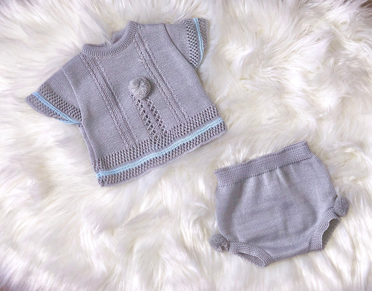 Grey Two Piece with Blue Trim - unisex