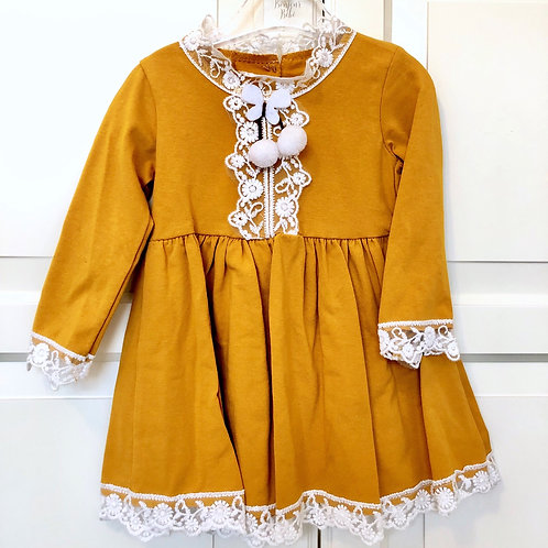 Mustard with Lace Trim and Pearls