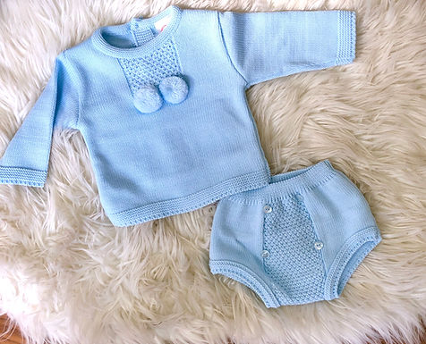 Cool-toned Pompom Blue Two Piece