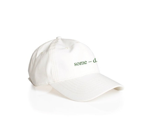 some-day cap ~ white with green embroidery