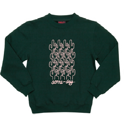 some-day kids sweater ~ green with pink abstract