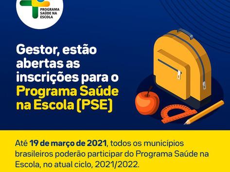 Programa Saúde na Escola - inscrições até 19/3/2021