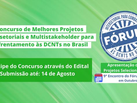 Concurso de Melhores Projetos para Enfrentamento às DCNTs 2021 - inscrições até 14/8/2021