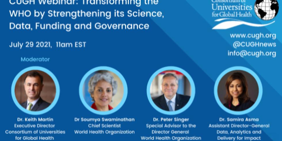 CUGH - Transformando a OMS por meio do fortalecimento de sua ciência, dados, financiamento e governança