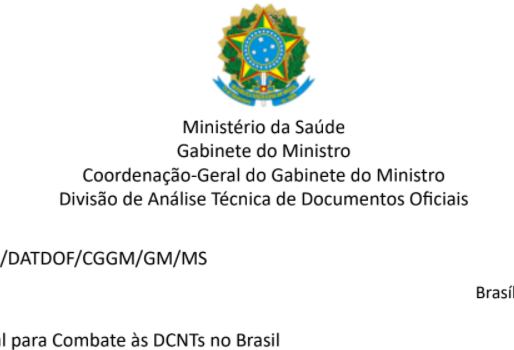 Ministério da Saúde Responde à Carta de Prioridades do FórumDCNTs