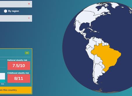 Mapa interativo de dados globais da obesidade