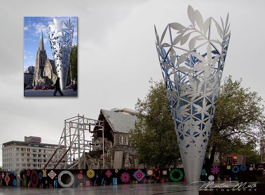 Die Christchurch Cathedral vor und nach dem Erdbeben von 2011.