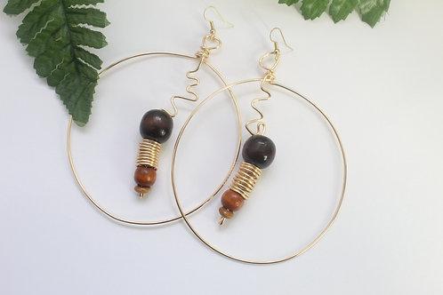 Wood & Wire Wrapped Hoop Earrings
