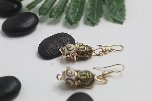 Budda Head Craved Bone Dangle Earrings