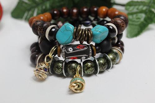 Turquoise & Rondelle Boho Charm Stretch BraceletSet