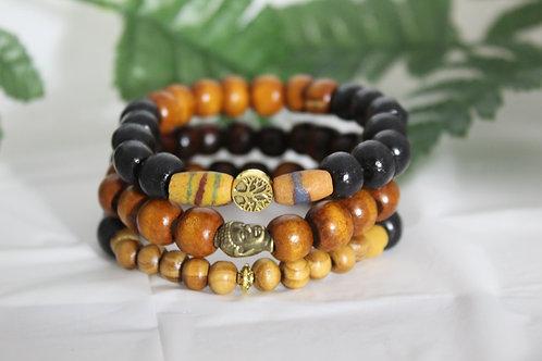 Buddha Head & Life Tree Beaded Wood Stretch 3-Piece Bracelet Set