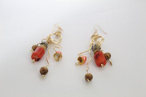 Wiggly Wire Art Charm Boho Earrings