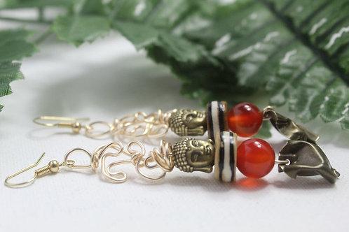 Buddha Head and Orange Jade Batik Beaded Dangle Earrings