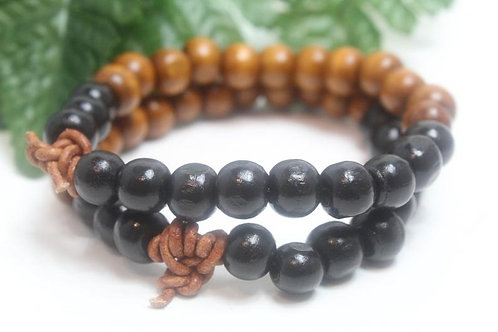 Two-Tone Wood Bead Stretch Bracelet with Leather Knot