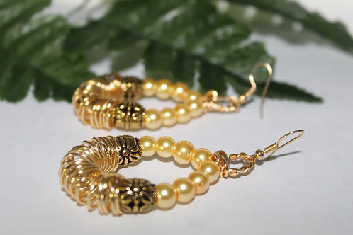 Pearl Coiled Wire Dangle Earrings