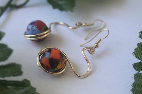 Wire Wiggle Beaded Dangle Earrings
