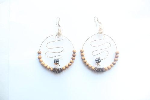 Batik & Wood Dangle Boho Earrings