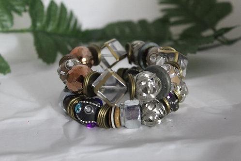2 Pc Glass Bead & Hex Nut Chunky Statement Bracelet Set