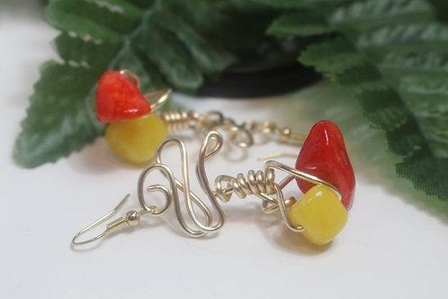 Orange & Yellow Natural Stone Wire Art Dangle Earrings