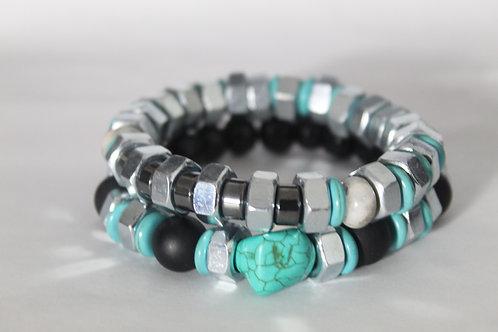 Turquoise Howlite & Hex Nut Unisex Stretch Bracelet