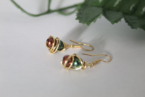 Emerald Green & Bronze Mini Wire Wrapped Peal Earrings