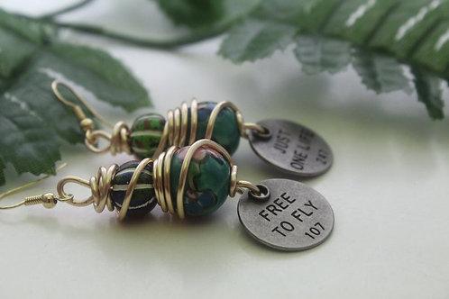 Bohemian Double Bead Wire Wrap Dangle Charm Earrings