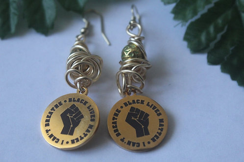 I Can't Breathe Black Lives Matter Dangle Boho Wire Wrapped Charm Earrings