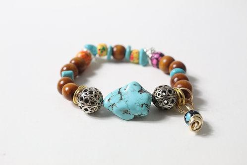 Turquoise Howlite Boho Charm Stretch Bracelet