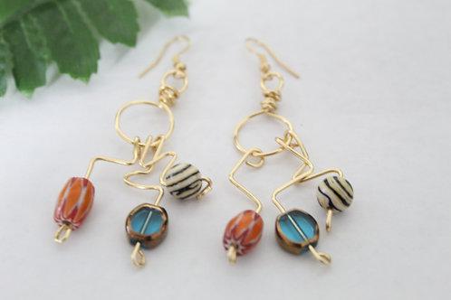 Crinkle Wearable Wire Art Dangle Earrings